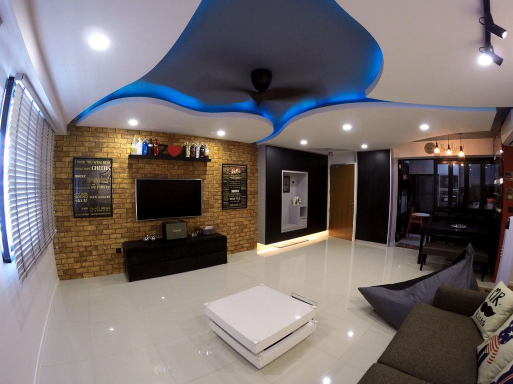Modern, HDB, Living Room, Punggol Waterway Terrace, Interior Designer, Colourbox Interior, Basement, Indoors, Room, Couch, Furniture