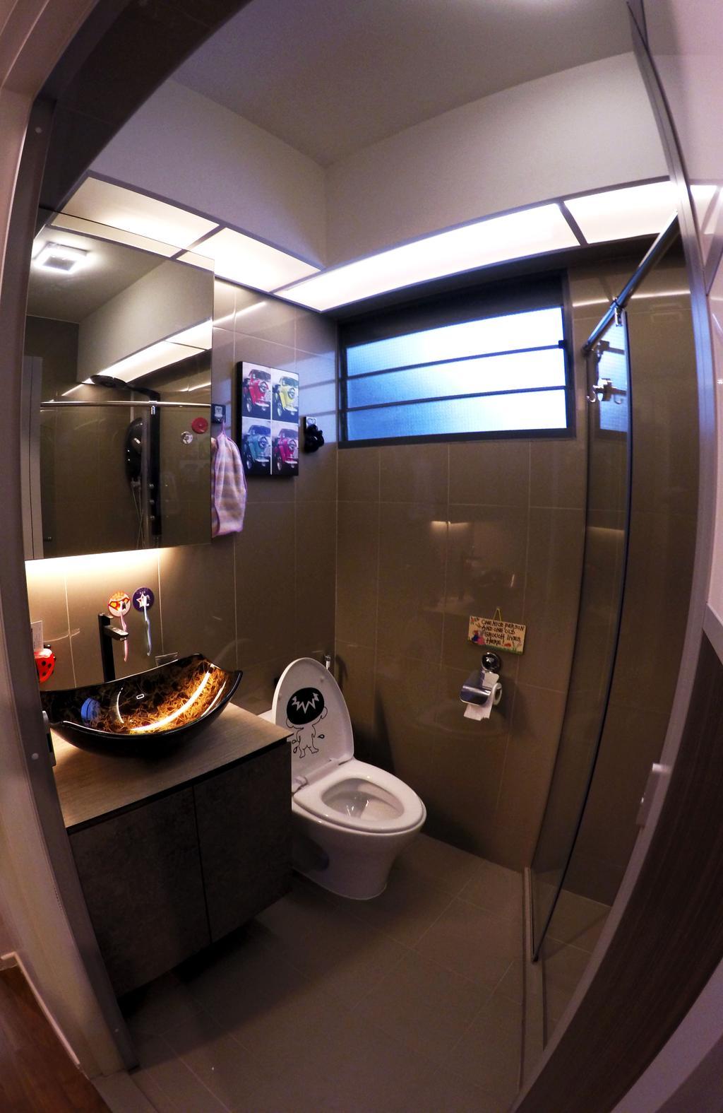 Modern, HDB, Bathroom, Punggol Waterway Terrace, Interior Designer, Colourbox Interior, Glass Panelled Shower, Wooden Bathroom Cabinet, Protruding Sink, Hidden Interior Lighting, Modern Contemporary Bathroom