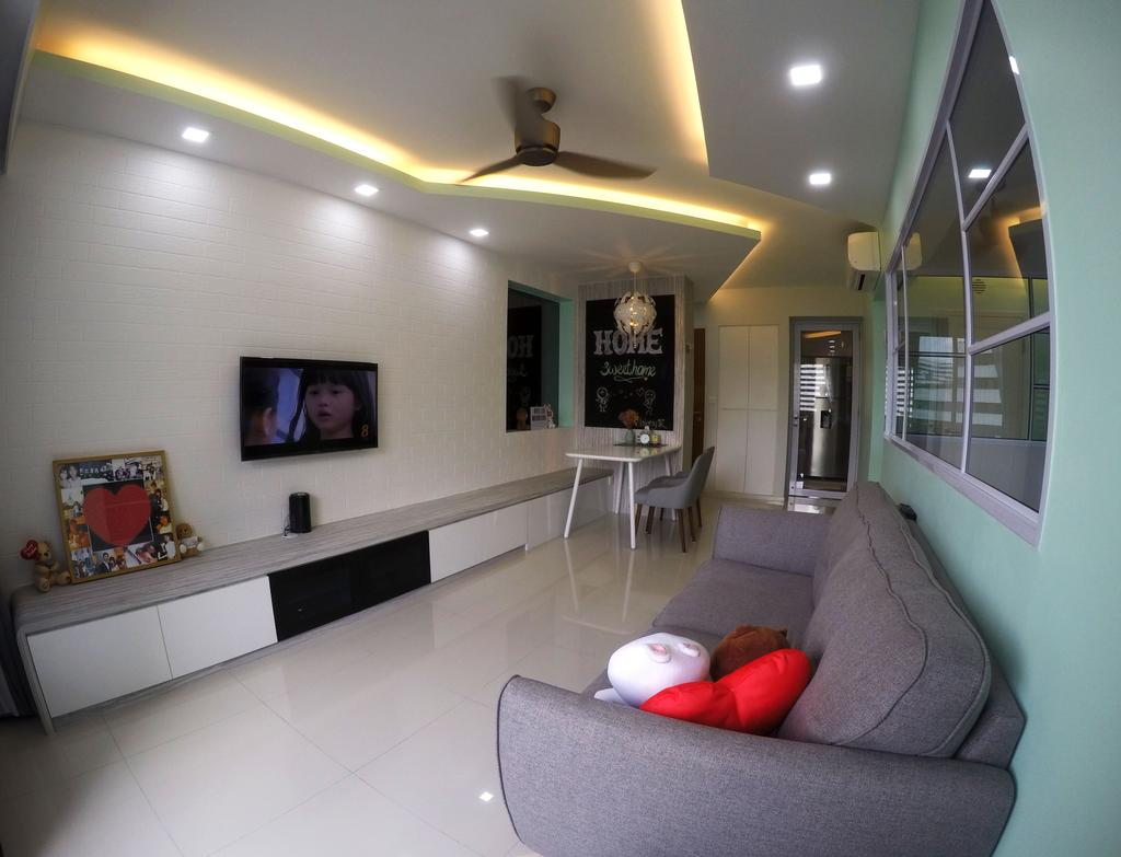 Modern, HDB, Living Room, Punggol Waterway Terrace, Interior Designer, Colourbox Interior, Lighting, Mouse, Dining Table, Furniture, Table, Corridor, Couch, Indoors, Room