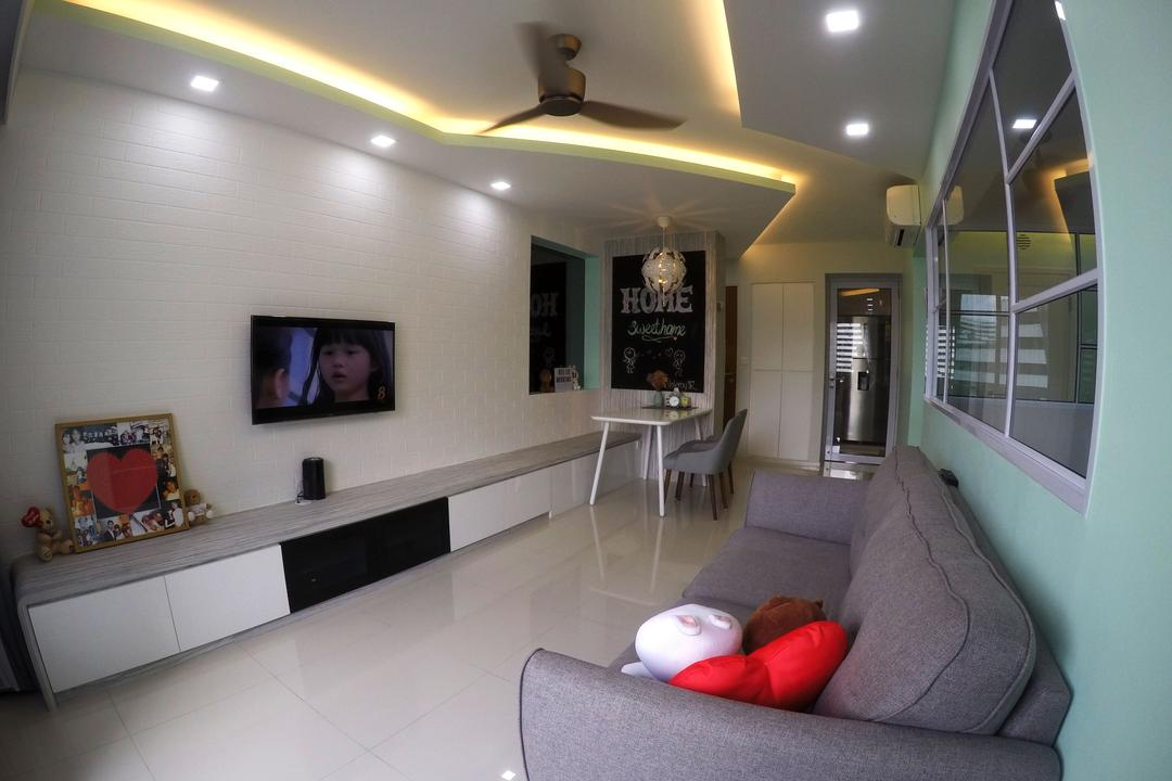 Punggol Waterway Terrace, Colourbox Interior, Modern, Living Room, HDB, Lighting, Mouse, Dining Table, Furniture, Table, Corridor, Couch, Indoors, Room