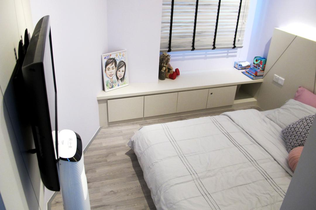 Punggol Waterway Terrace, Colourbox Interior, Modern, Bedroom, HDB, Modern Contemporary Bedroom, King Size Bed, Wall Mounted Television, Wooden Floor, Cozy, Cosy, Roll Down Curtain, White Laminated Shelve, White Cabinet, Bed, Furniture, Building, Housing, Indoors