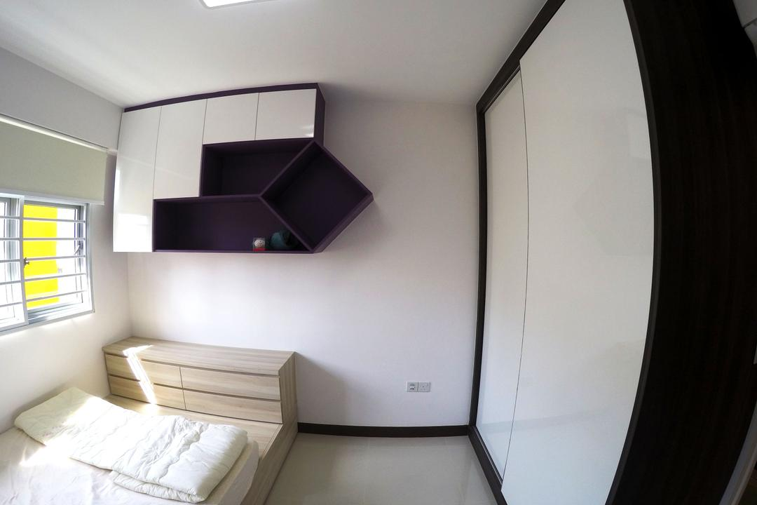Rivervale Crescent, Colourbox Interior, Modern, Bedroom, HDB, Wall Mounted Cabinet, Sliding White Wardrobe, Black Wardrobe, White Door, Sliding White Door, Ceramic Tiles, Wooden Bedding Platform, Ceiling Light, , King Size Bed