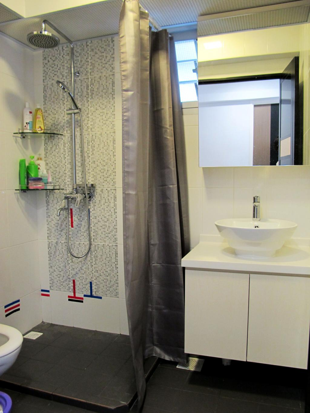Modern, HDB, Bathroom, Rivervale Crescent, Interior Designer, Colourbox Interior, Sink, Door, Sliding Door, Indoors, Interior Design, Room