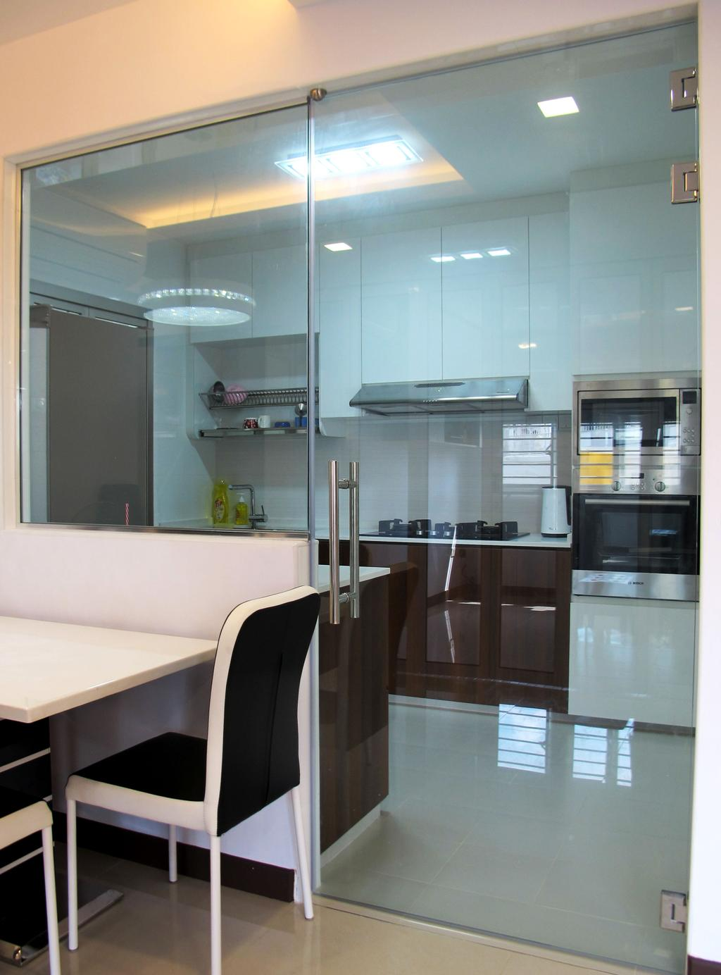 Modern, HDB, Dining Room, Rivervale Crescent, Interior Designer, Colourbox Interior, Appliance, Electrical Device, Oven, Indoors, Interior Design, Kitchen, Room, Fridge, Refrigerator
