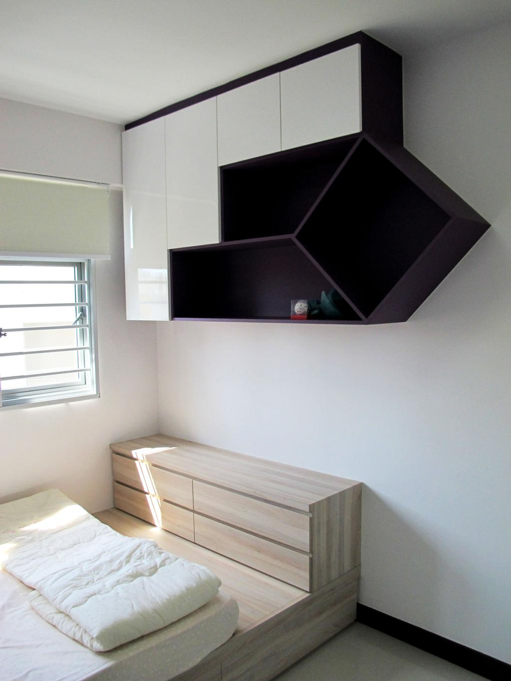 Modern, HDB, Bedroom, Rivervale Crescent, Interior Designer, Colourbox Interior, Plywood, Wood
