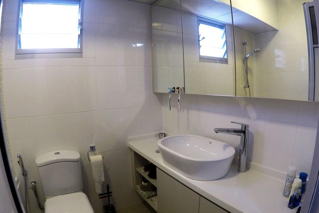Rivervale Crescent, Colourbox Interior, Modern, Bathroom, HDB, Ceramic Tiles, Bathroom Cabinet, Sink Countertop, White Laminated Top, Ceiling Light, Modern Contemporary Bathroom, Toilet, Indoors, Interior Design, Room