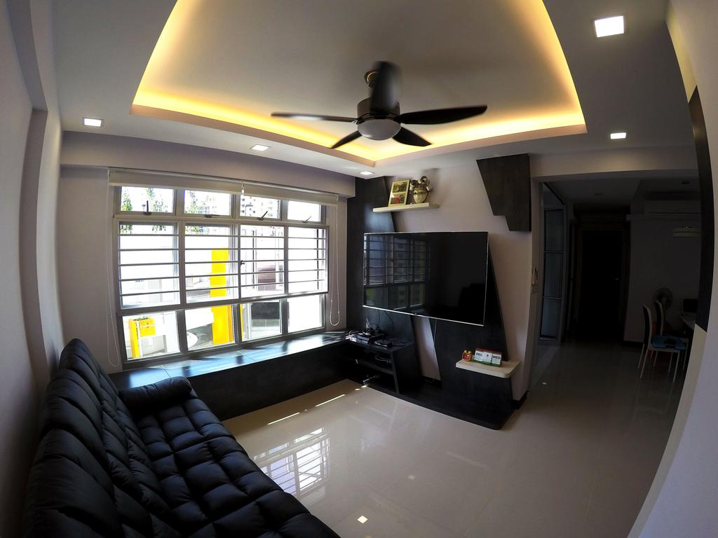 Modern, HDB, Living Room, Rivervale Crescent, Interior Designer, Colourbox Interior, Modern Contemporary Living Room, Ceiling Fan, , Coffered Ceiling, Hidden Interior Lighting, Wall Mounted Television, Teelvision Console, Black Sofa, Couch, Furniture, Building, Housing, Indoors, Loft, Lighting