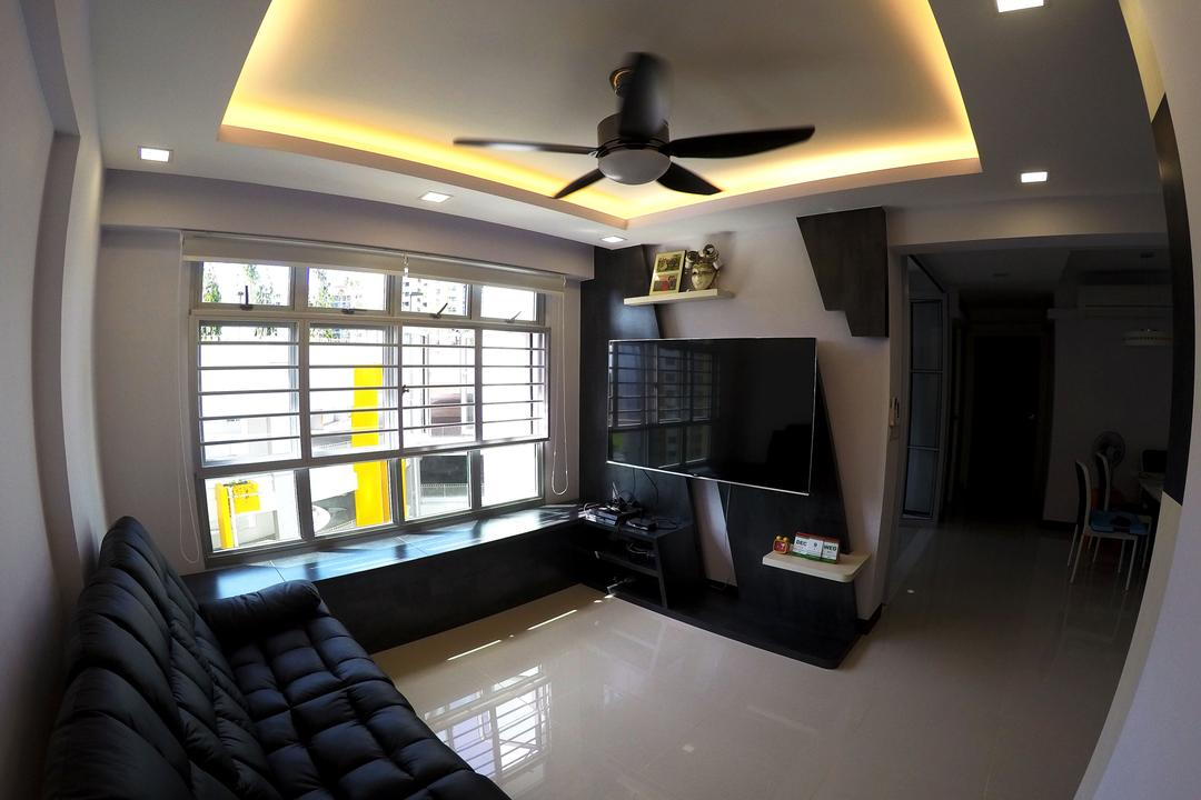 Rivervale Crescent, Colourbox Interior, Modern, Living Room, HDB, Modern Contemporary Living Room, Ceiling Fan, , Coffered Ceiling, Hidden Interior Lighting, Wall Mounted Television, Teelvision Console, Black Sofa, Couch, Furniture, Building, Housing, Indoors, Loft, Lighting