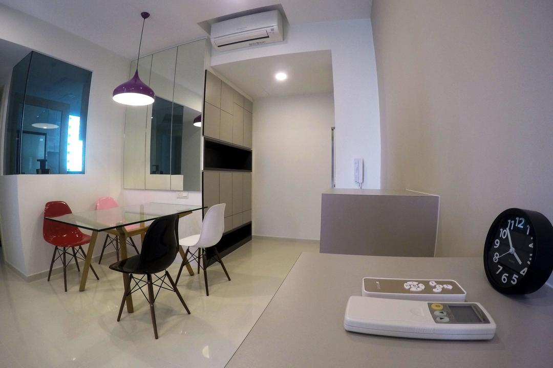 The Luxurie, Colourbox Interior, Modern, Dining Room, HDB, Half Hack, Glass Partition, Chair, Furniture, Dining Table, Table, Indoors, Room