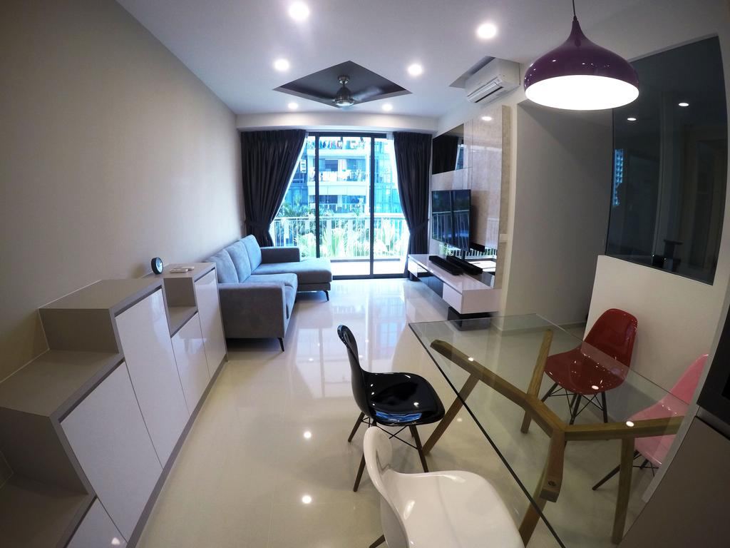 Modern, HDB, Living Room, The Luxurie, Interior Designer, Colourbox Interior, Chair, Furniture, Couch, Indoors, Room, Dining Table, Table, Sink