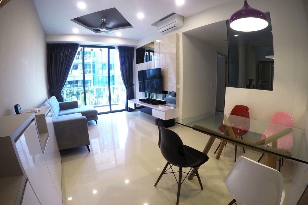 The Luxurie, Colourbox Interior, Modern, Dining Room, HDB, Hanging Lights, Dining Chair, Glass Dining Table, Mini Dining Area, Chair, Furniture, Indoors, Room, Building, Housing, Loft, Interior Design