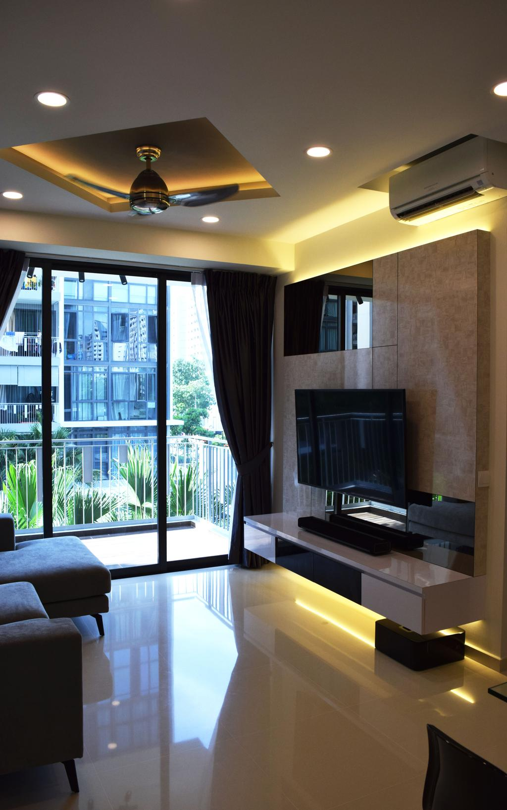 Modern, HDB, Living Room, The Luxurie, Interior Designer, Colourbox Interior, Couch, Furniture