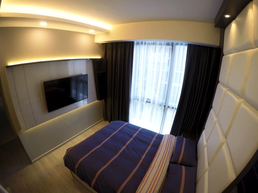 Modern, HDB, Bedroom, The Luxurie, Interior Designer, Colourbox Interior, King Size Bed, , Recessed Lights, Wall Mounted Television, Hidden Interior Lighting, Recessed Lighting, Wooden Floor, Cozy, Cosy, Modern Contemporary Bedroom, Bed, Furniture, Indoors, Room