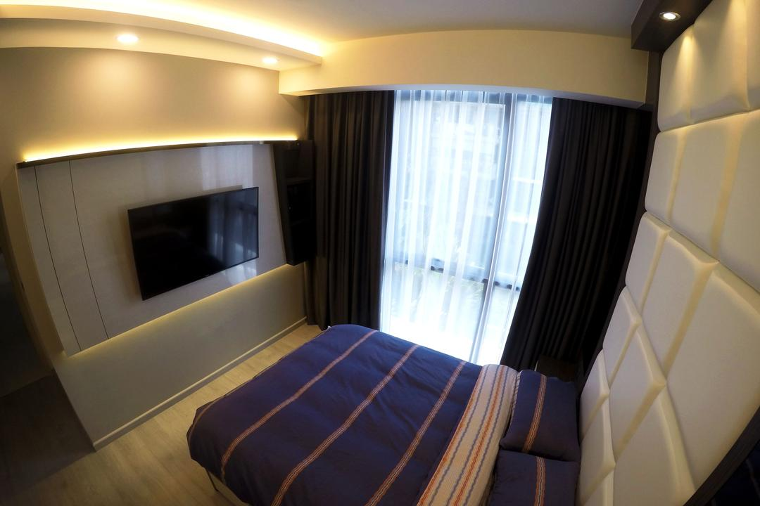 The Luxurie, Colourbox Interior, Modern, Bedroom, HDB, King Size Bed, , Recessed Lights, Wall Mounted Television, Hidden Interior Lighting, Recessed Lighting, Wooden Floor, Cozy, Cosy, Modern Contemporary Bedroom, Bed, Furniture, Indoors, Room