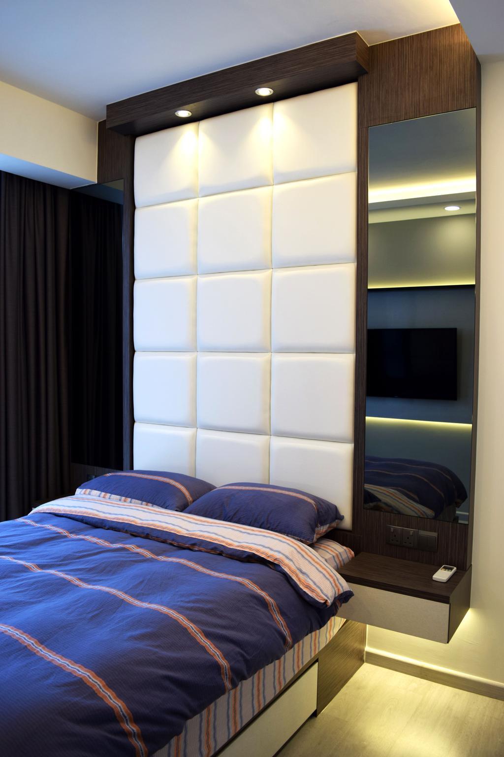 Modern, HDB, Bedroom, The Luxurie, Interior Designer, Colourbox Interior, Fireplace, Hearth