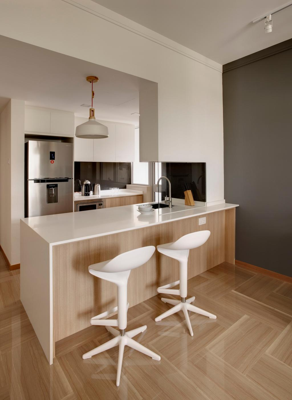 Minimalistic, Condo, Kitchen, Bukit Batok East (Hillview Regency), Interior Designer, Third Avenue Studio, Parquet, Wood Laminate, Kitchen Counter, Island, Chair, Furniture, Molding