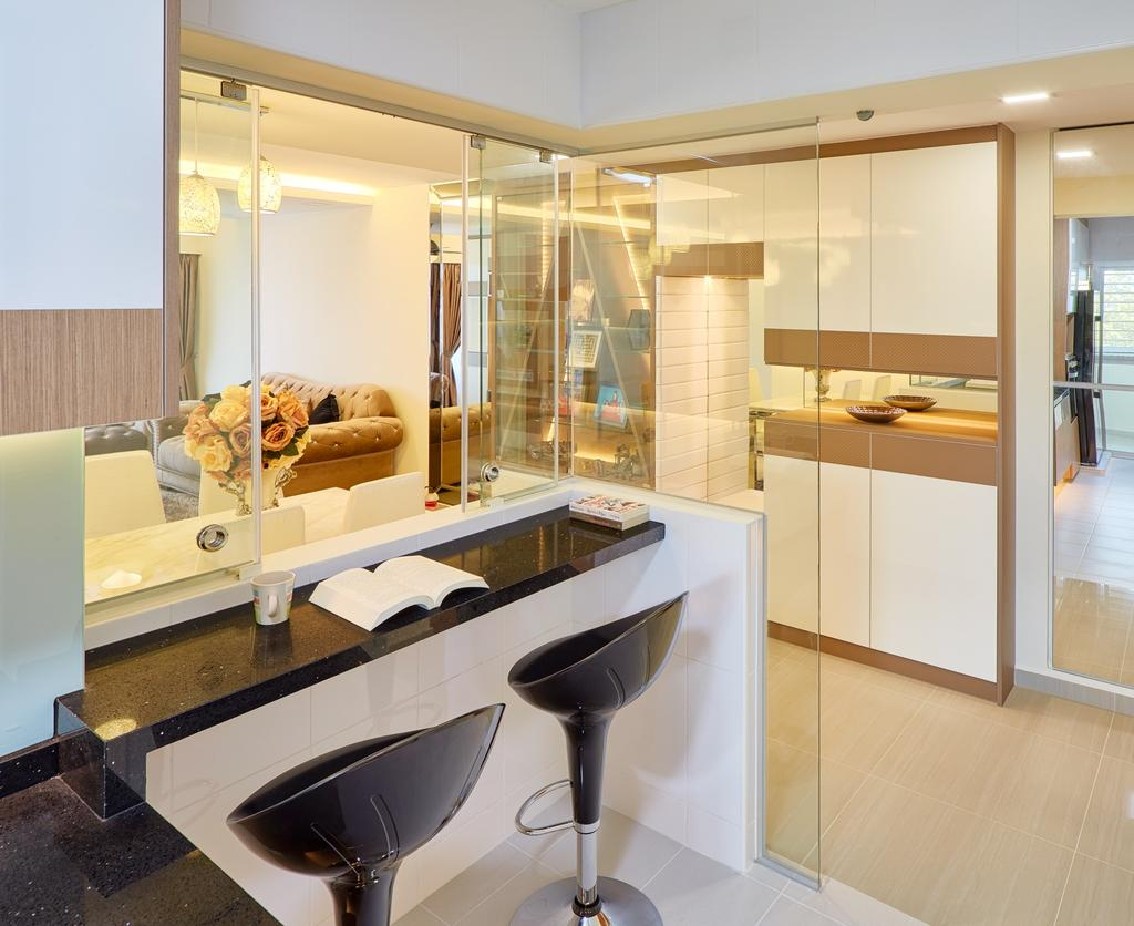 Contemporary, HDB, Study, Fajar Hills, Interior Designer, Absolook Interior Design, Lounge Stool, Black Study Table, Recessed Lights