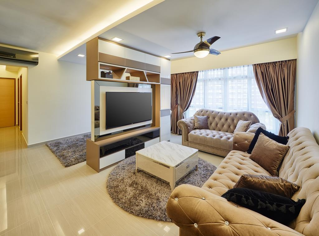Contemporary, HDB, Living Room, Fajar Hills, Interior Designer, Absolook Interior Design, Chesterfield, Sling Curtain, Wall Mounted Television, Recessed Lights, Hidden Interior Lighting, Television Console, Cozy, Cosy, Spacious, Bright, Classy, Mini Table, Round Mat, Modern, Wall Mounted Shelves, Ceiling Fan, Couch, Furniture, Electronics, Entertainment Center, Indoors, Interior Design, Room