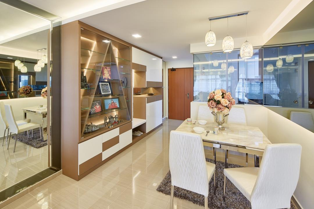 Fajar Hills, Absolook Interior Design, Contemporary, Dining Room, HDB, Hanging Lights, Hidden Interior Lighting, Recessed Lights, White Dining Chair, White Dining Table, Dining Mat, Shelves, Chair, Furniture, Bathroom, Indoors, Interior Design, Room, Home Decor, Linen, Tablecloth, Basement