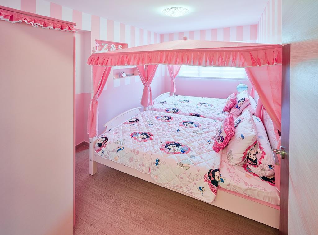 Contemporary, HDB, Bedroom, Fajar Hills, Interior Designer, Absolook Interior Design, Kids Bedroom, Wooden Floor, Girls Bedroom, Ceiling Light, Double Bed, Bright, Cozy, Cosy