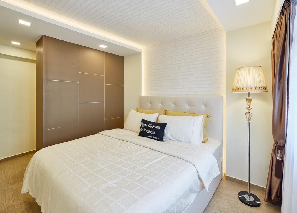 Contemporary, HDB, Bedroom, Fajar Hills, Interior Designer, Absolook Interior Design, Hidden Interior Lights, Recessed Lights, King Size Bed, Lamp, Sling Curtain, Wooden Floor, Wooden Wadrobe, Bed, Furniture, Indoors, Interior Design, Room