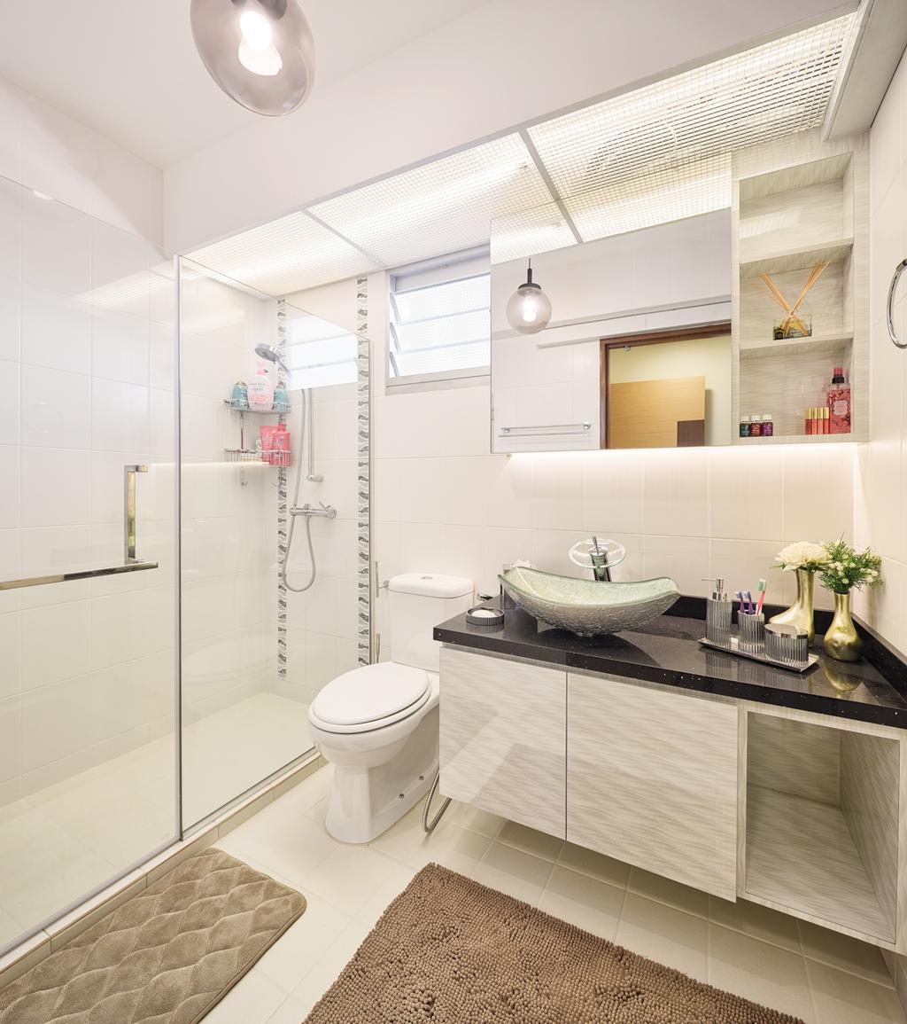 Contemporary, HDB, Bathroom, Fajar Hills, Interior Designer, Absolook Interior Design, Indoors, Interior Design, Room, Sink