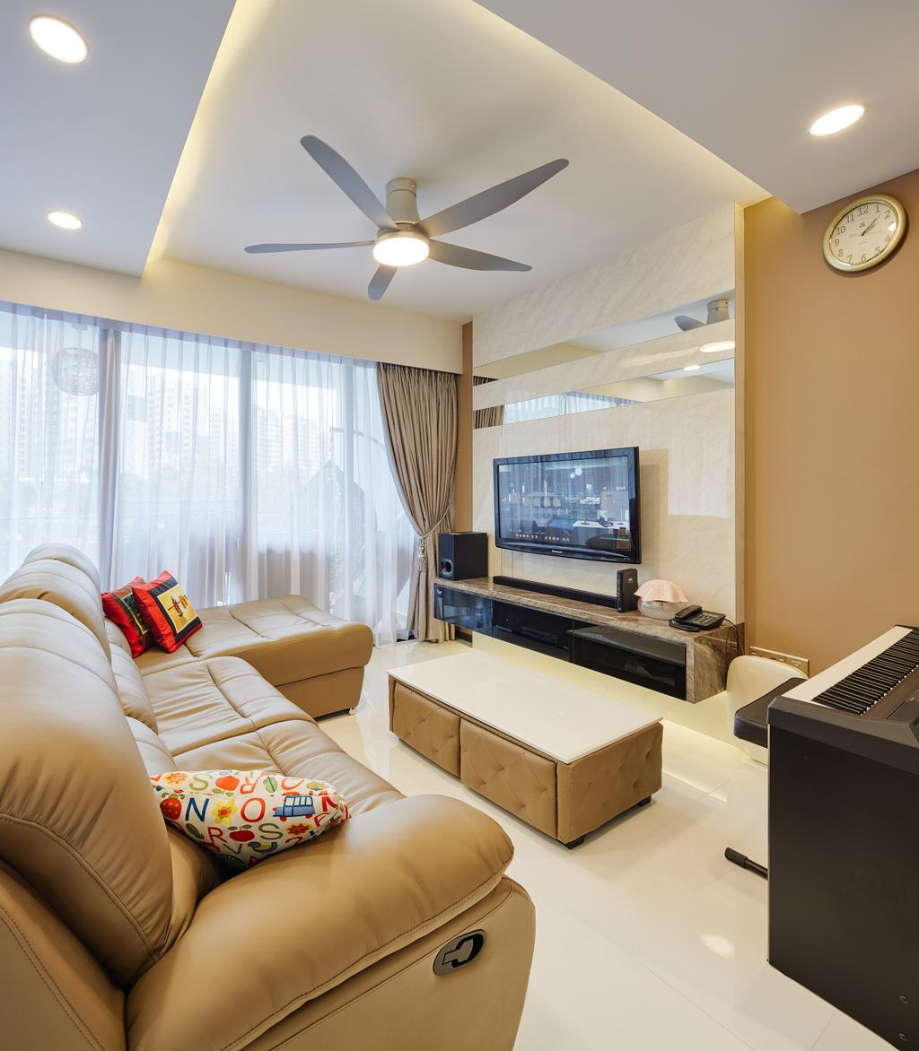 Modern, Condo, Living Room, Waterbay, Interior Designer, Absolook Interior Design, Wall Mounted Television, Floating Console, Recessed Light, Hidden Interior Lights, Ceiling Fan, Sofa, Cozy, Cosy, Sectional Sofa, Couch, Furniture, Indoors, Room