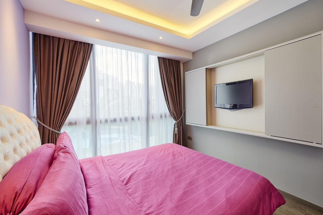 Waterbay, Absolook Interior Design, Modern, Bedroom, Condo, Pink Bed, Sling Curtain, Hidden Interior Lighting, Recessed Lights, Wall Mounted Television, Sliding Cabinet, Wooden Floor, Cozy, Cosy, Bed, Furniture, Indoors, Interior Design, Room
