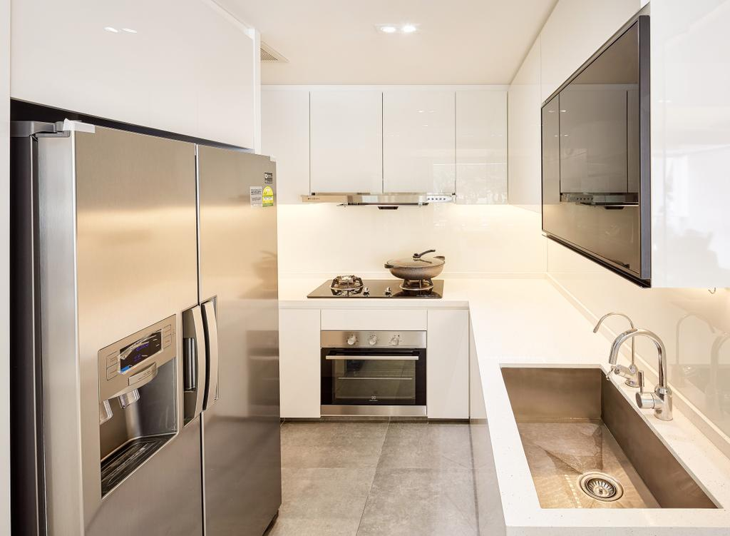 Modern, Condo, Kitchen, The Nautical, Interior Designer, Absolook Interior Design, Minimalistic, Ceramic Tiles, Recessed Lights, Hidden Interior Lighting, Refrigerator, Oven, Wall Mounted Cabinet, White Cabinet, Indoors, Interior Design, Appliance, Electrical Device