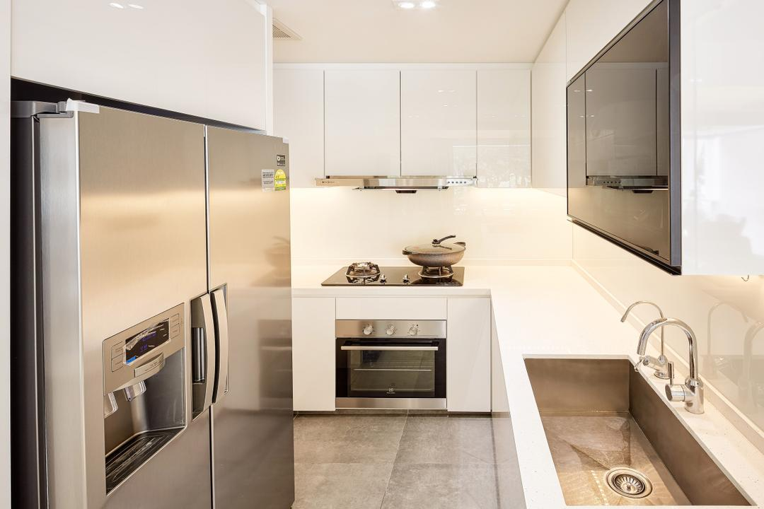 The Nautical, Absolook Interior Design, Modern, Minimalistic, Kitchen, Condo, Ceramic Tiles, Recessed Lights, Hidden Interior Lighting, Refrigerator, Oven, Wall Mounted Cabinet, White Cabinet, Indoors, Interior Design, Appliance, Electrical Device