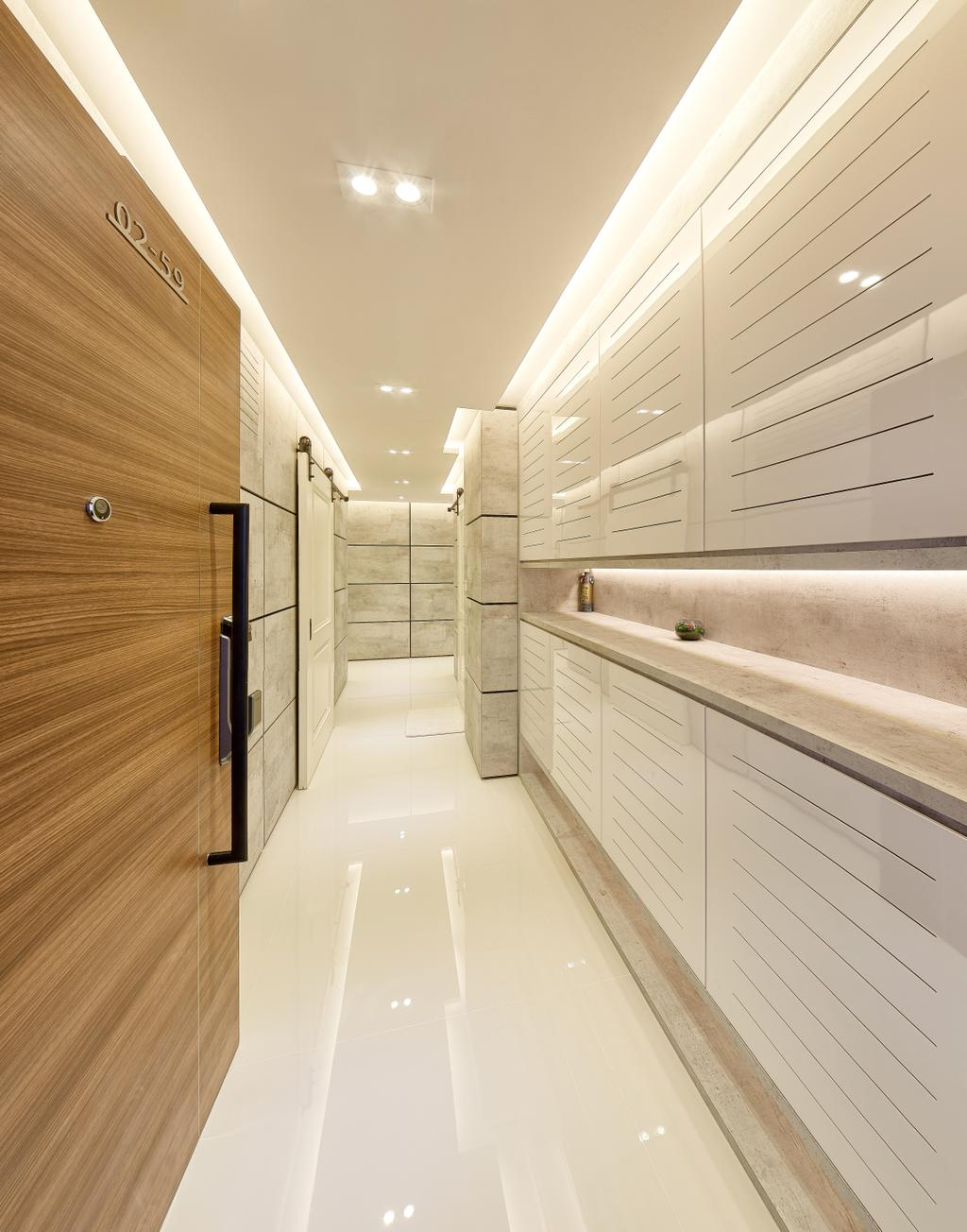 Modern, Condo, Living Room, The Nautical, Interior Designer, Absolook Interior Design, Minimalistic, Hallway, Wooden Door, Recessed Lights, Hidden Interior Lights, Corridor