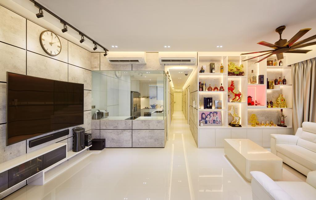 Modern, Condo, Living Room, The Nautical, Interior Designer, Absolook Interior Design, Minimalistic, , Track Lights, Recessed Lights, Ceiling Fan, Hidden Interior Lights, Wall Mounted Television, Floating Console, Ceramic Tiles, Rectangular Wall Tiles, Spacious, Sling Curtain, White Sofa, Couch, Furniture, Indoors, Interior Design