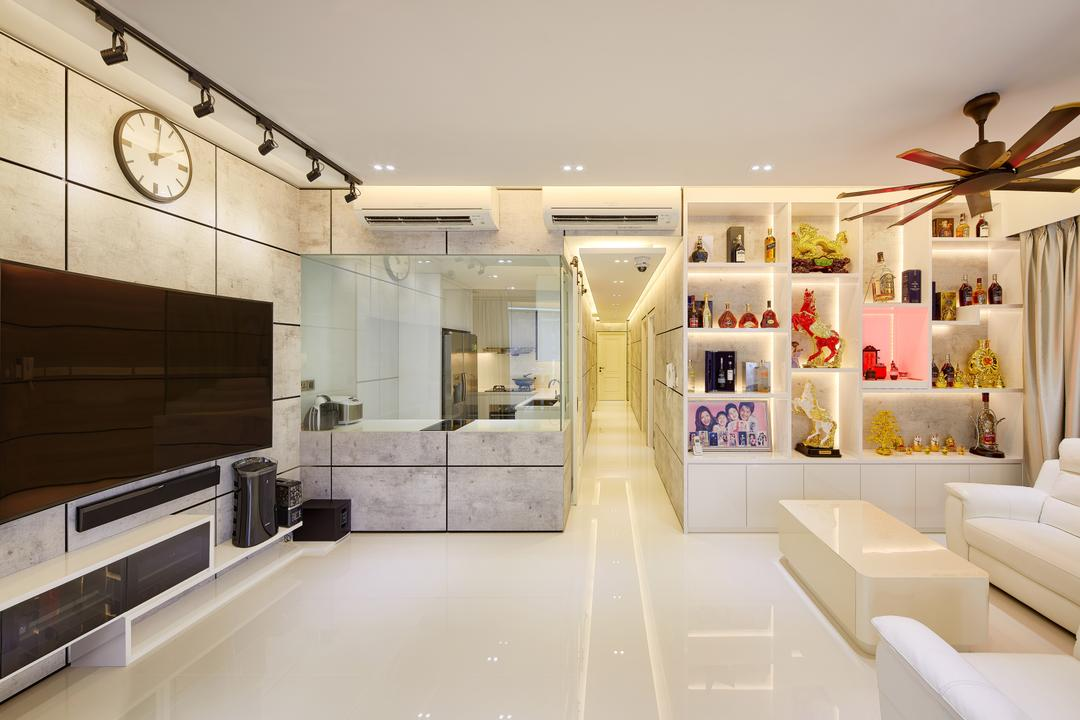 The Nautical, Absolook Interior Design, Modern, Minimalistic, Living Room, Condo, , Track Lights, Recessed Lights, Ceiling Fan, Hidden Interior Lights, Wall Mounted Television, Floating Console, Ceramic Tiles, Rectangular Wall Tiles, Spacious, Sling Curtain, White Sofa, Couch, Furniture, Indoors, Interior Design