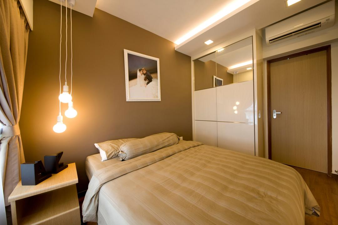 Parkland Residences, Edge Interior, Modern, Bedroom, HDB, Drop Light, Hanging Light, Bedside Table, Cove Light, Concealed Light, Indoors, Room, Bed, Furniture, Interior Design