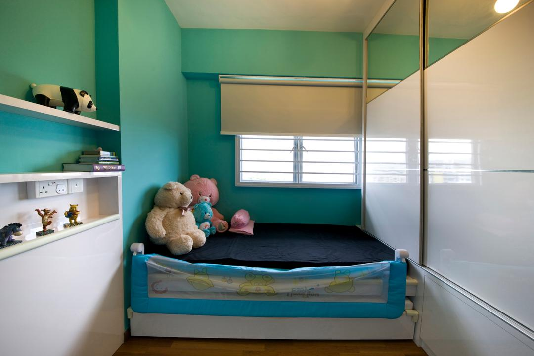 Parkland Residences, Edge Interior, Modern, Bedroom, HDB, Green Wall, Turquoise Wall, Laminate, White Laminate, Teddy Bear, Toy