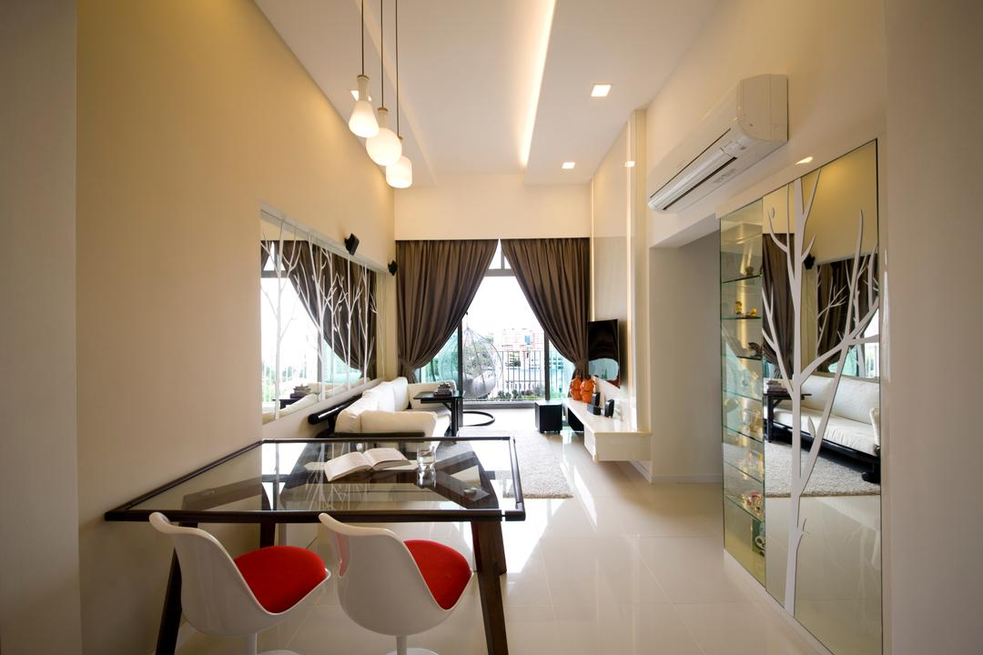 Parkland Residences, Edge Interior, Modern, Dining Room, HDB, White Interior, White Walls, Hanging Light, Building, Housing, Indoors, Interior Design, Dining Table, Furniture, Table