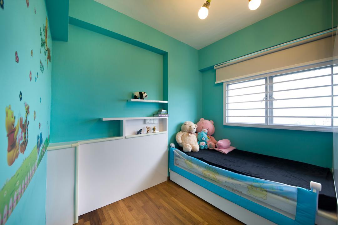 Parkland Residences, Edge Interior, Modern, Bedroom, HDB, Wall Art, Wall Sticker, Kids, Children, Children Room, Parquet Flooring, Wooden Floor, Indoors, Nursery, Room, Bed, Furniture, Interior Design