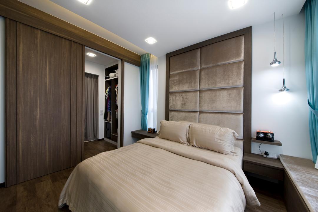 Blossom Residences, Edge Interior, Modern, Bedroom, Condo, Headboard, Drop Light, Hanging Light, Parquet Flooring, Wooden Floor, Wooden Laminate, Laminate