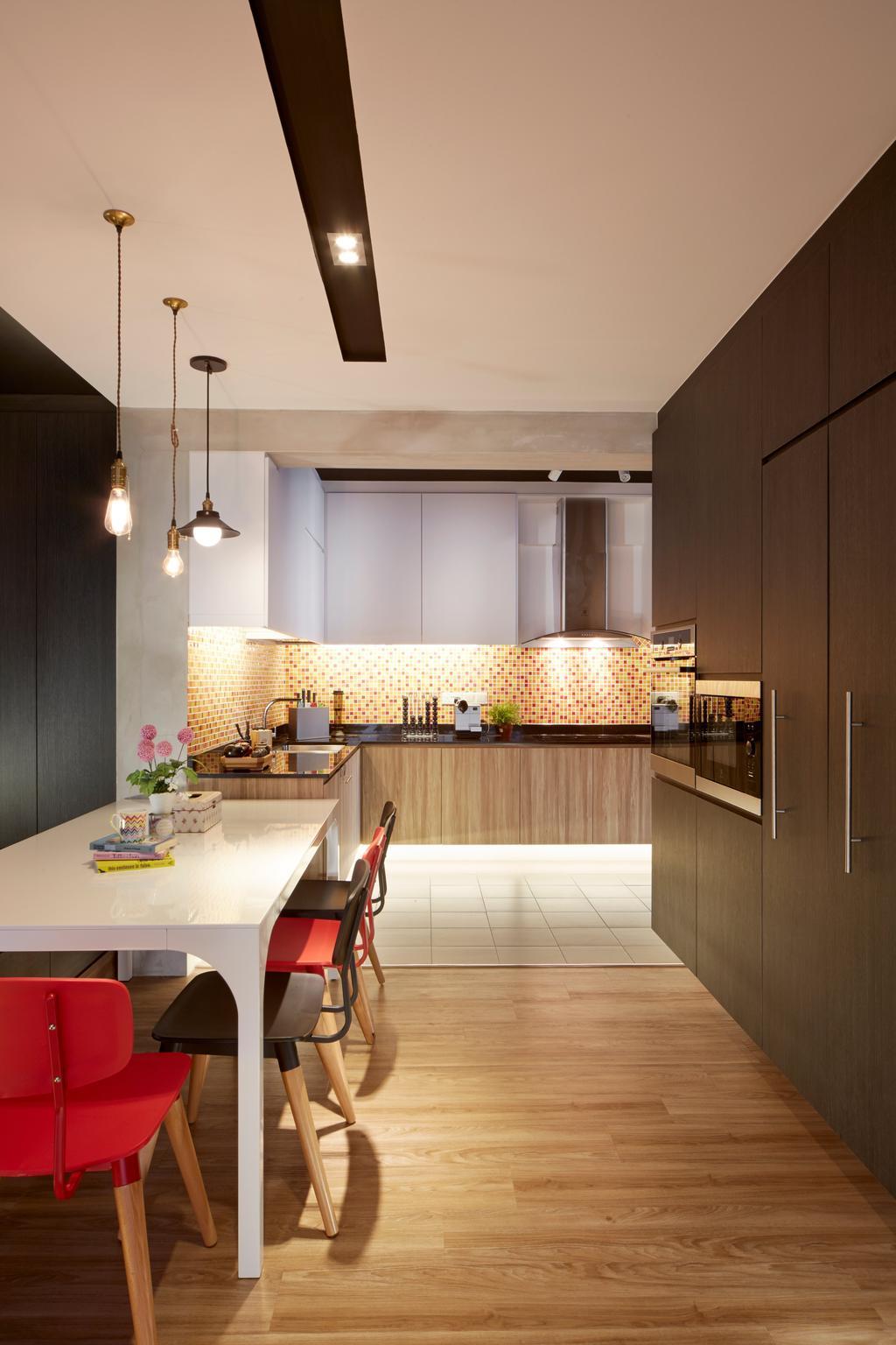 Scandinavian, HDB, Kitchen, Sengkang West Way, Interior Designer, Edge Interior, Drop Lighting, Drop Light, Hanging Light, Parquet Flooring, Wooden Flooring, Building, Housing, Indoors, Loft