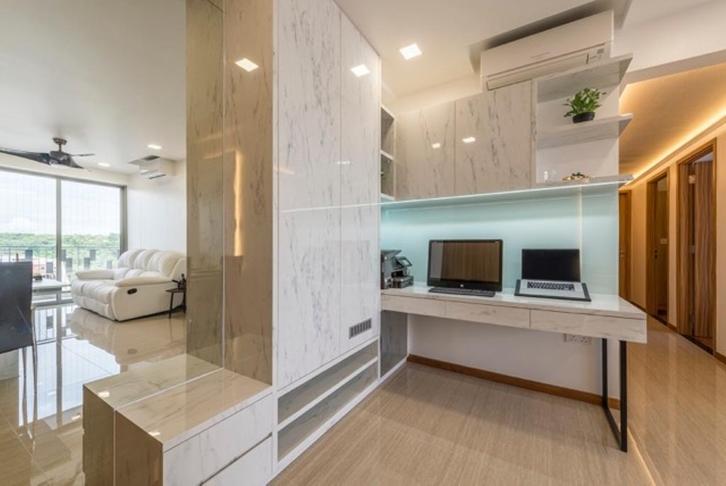 Modern, Condo, Study, Flo Residence, Interior Designer, VNA Design, Contemporary, Modern Contemporary Study Room, , Marble Floor, Wall Mounted Study Desk, Hidden Interior Lighting, Marble Study Desk, Marble Cabinet, Flora, Jar, Plant, Potted Plant, Pottery, Vase, Indoors, Interior Design
