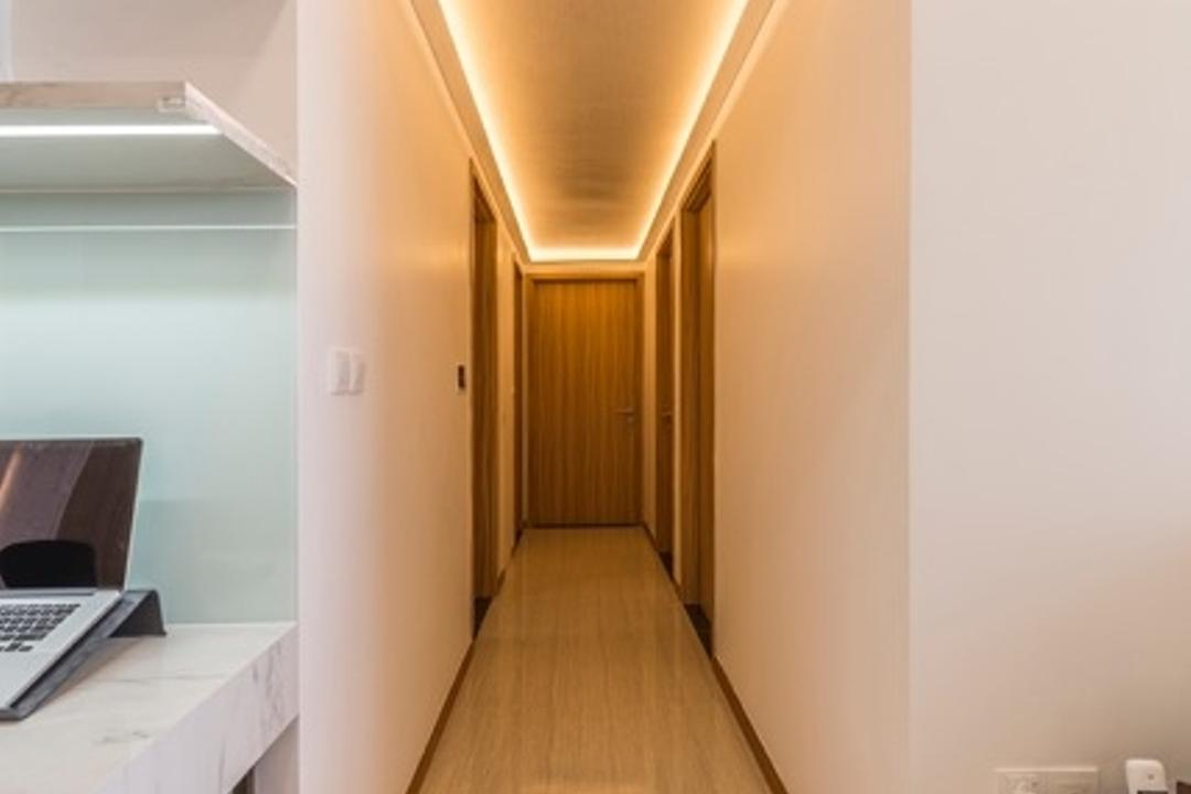 Flo Residence, VNA Design, Modern, Contemporary, Bedroom, Condo, Hallway, Recessed Lights, Marble Floor, White Wall, Corridor, Computer, Electronics, Laptop, Pc