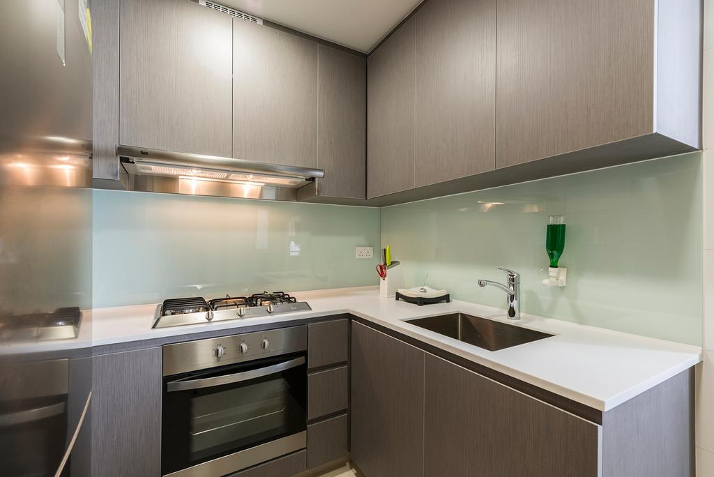 Modern, Condo, Kitchen, Flo Residence, Interior Designer, VNA Design, Contemporary, Modern Contemporary Kitchen, Wooden Kitchen Cabinet, Wooden Kitchen Cupboard, White Laminated Top, Built In Oven, Sink, Indoors, Interior Design, Room, Appliance, Electrical Device, Oven