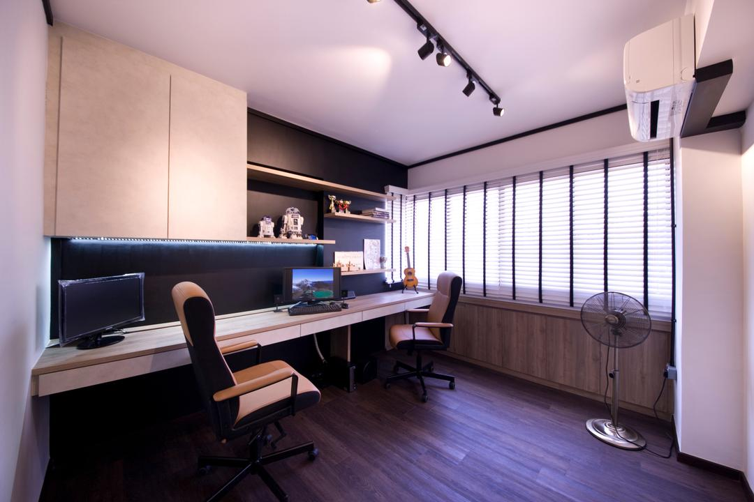 Jelapang Road, Edge Interior, Industrial, Study, HDB, Track Light, Black Trackie, Study Table, Laminate, Venetian Blinds, Chair, Furniture, Indoors, Office, Molding