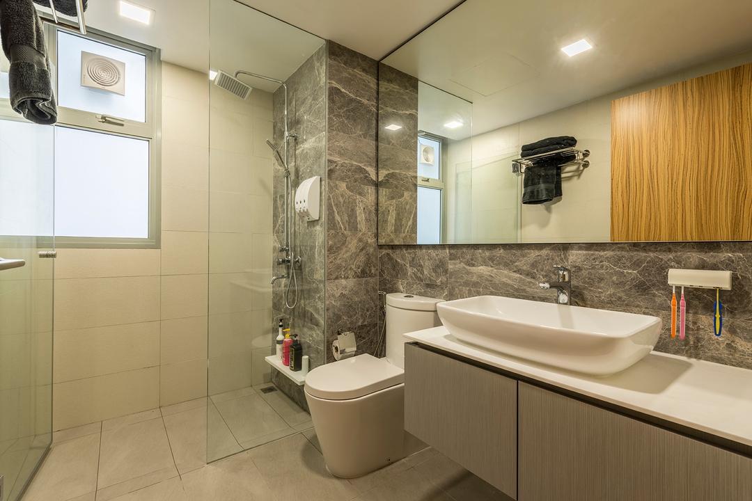 Flo Residence, VNA Design, Modern, Contemporary, Bathroom, Condo, Ceramic Tiles, Modern Contemporary Bathroom, Sink Countertop, White Laminated Top, Protruding Sink, Wooden Bathroom Cabinet, Glass Panelled Shower, Recessed Lights, Indoors, Interior Design, Room, Sink