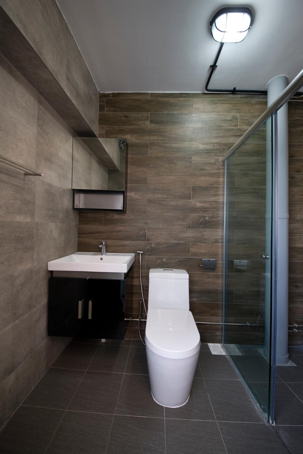 Industrial, HDB, Bathroom, Jelapang Road, Interior Designer, Edge Interior, Bathroom Tiles, Glass Door, Flooring