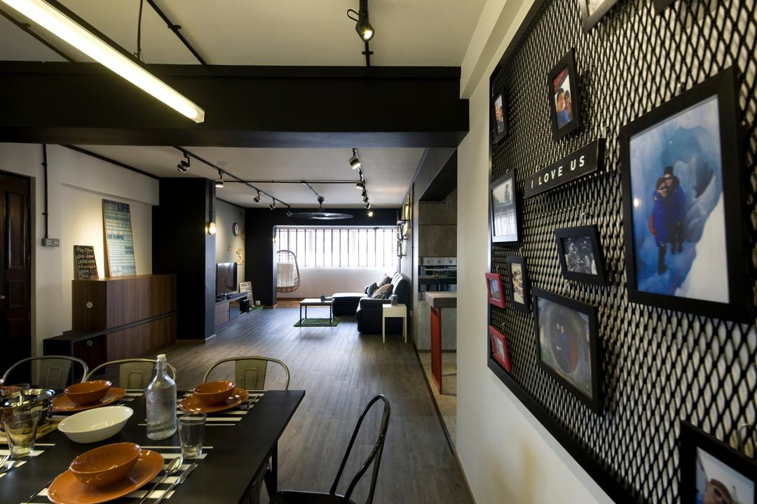Jelapang Road, Edge Interior, Industrial, Dining Room, HDB, Parquet Flooring, Wooden Floor, Trackie, Black Track Light, Human, People, Person, Cafe, Restaurant, Dining Table, Furniture, Table, Sink, Indoors, Interior Design, Room