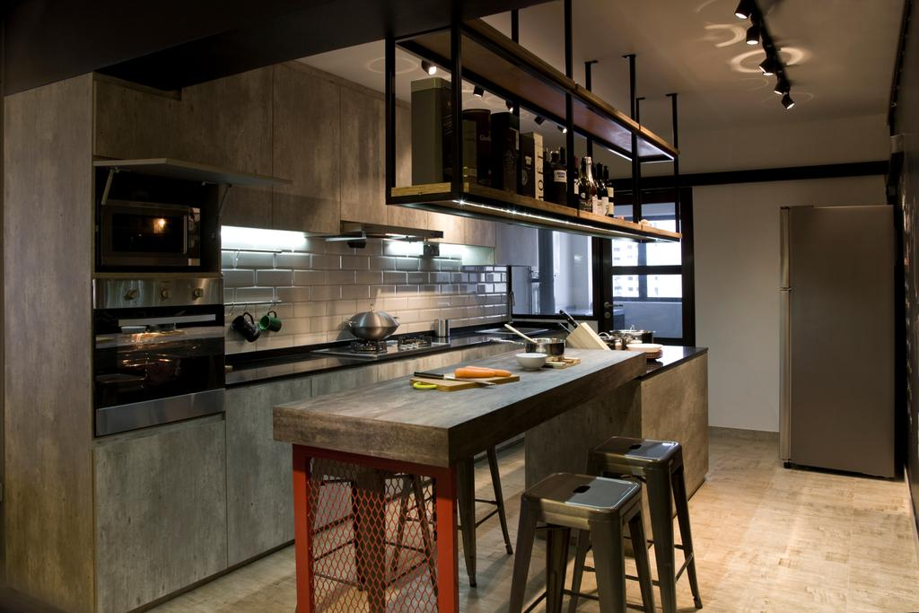 Industrial, HDB, Kitchen, Jelapang Road, Interior Designer, Edge Interior, Hanging Shelf, Wooden Floor, Parquet Flooring, Stools, Appliance, Electrical Device, Oven, Indoors, Interior Design, Room, Building, Housing, Loft, Dining Table, Furniture, Table, Chair