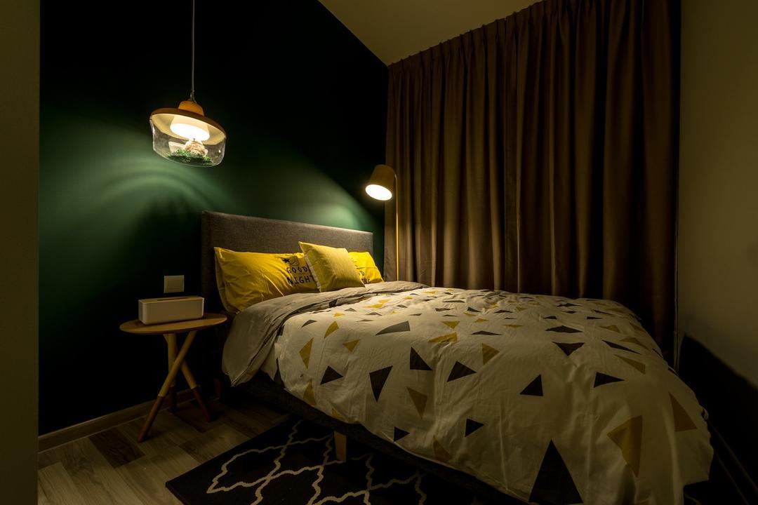 La Fiesta, Mr Shopper Studio, Eclectic, Bedroom, Condo, Green Wall, Pendant Lamps, Side Table, Big Bed, Rug, Geometric Rug, Chair, Furniture, Indoors, Interior Design, Room, Bed