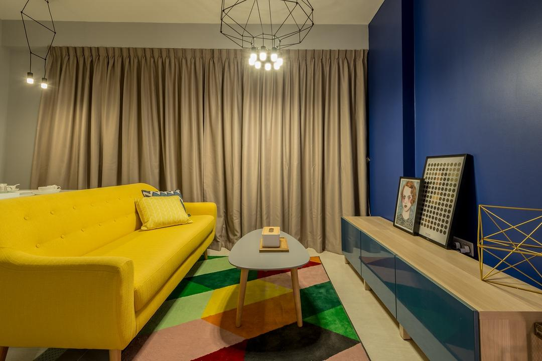 La Fiesta, Mr Shopper Studio, Eclectic, Living Room, Condo, Area Rug, Big Rug, Geometric Rug, Colour Pop, Colourful, Colours, Couch, Furniture, Chair, Indoors, Room, Interior Design