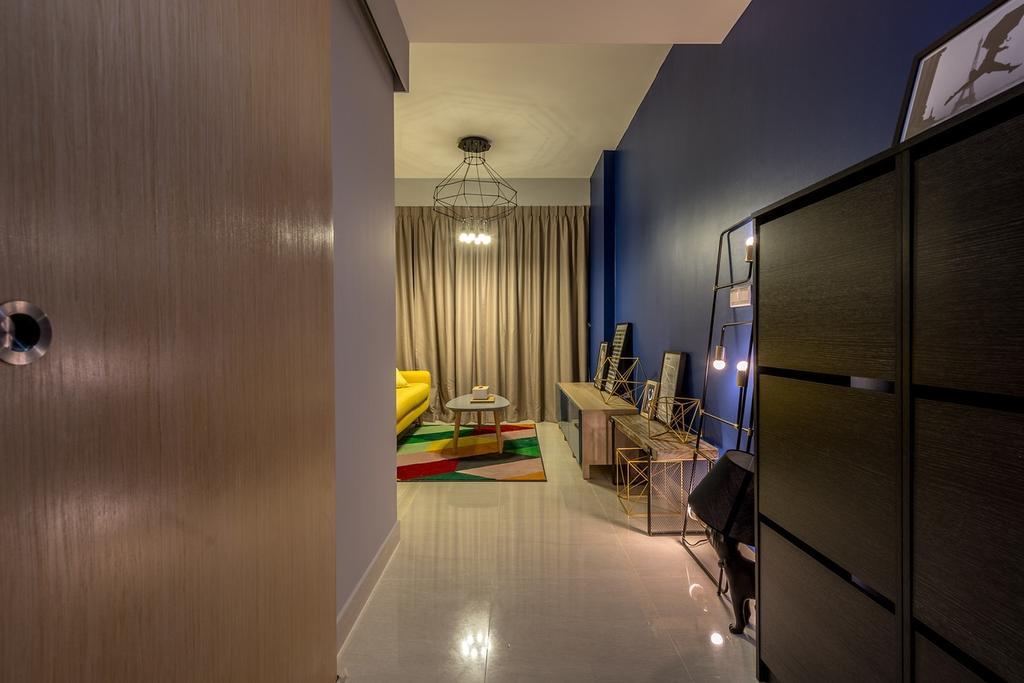 Eclectic, Condo, Living Room, La Fiesta, Interior Designer, Mr Shopper Studio, Entrance, Hallway, Main Entrance, Shoe Cabinet, Corridor, Walkway
